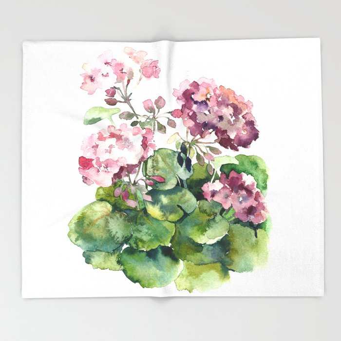 Watercolor pink geranium flowers aquarelle throw blanket by maryami watercolor pink geranium flowers aquarelle throw blanket mightylinksfo
