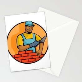African American Bricklayer Mascot Stationery Cards