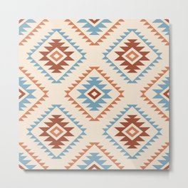 Aztec Style Motif Pattern Blue Cream Terracottas Metal Print