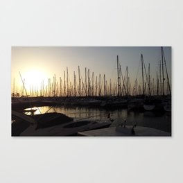 Yacht anchored at sunset Canvas Print