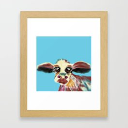 Colorful Cow With Big Eyes On Bluebackground Framed Art Print