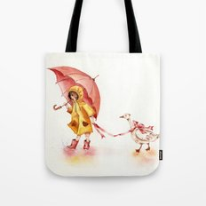 Rainy Day - Girl in a Yellow Rain Coat with Read Umbrella and with a Goose Tote Bag