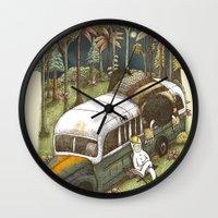 wild things Wall Clocks featuring Into The Wild Things by Alvaro Arteaga