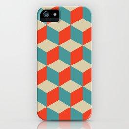 cube pattern blue orange cream iPhone Case