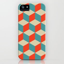 cube pattern blue orange cream iPhone Case