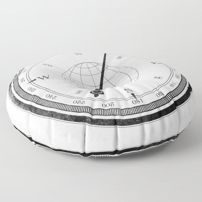 Textured Compass on White Floor Pillow