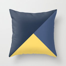 Blue and yellow triangles pattern Throw Pillow