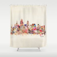 cincinnati Shower Curtains featuring cincinnati ohio  by bri.buckley