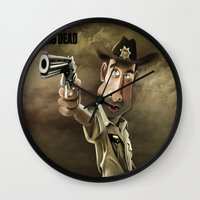 rick grimes Wall Clocks featuring The Walking Dead | Rick Grimes by AnkitS