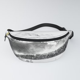Fresh Snow Dust // Black and White Powder Day on the Mountain Fanny Pack