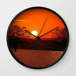 Desert Sunset Landscape Wall Clock