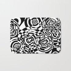Raindrops 2 Black and White Geometric Painting Bath Mat