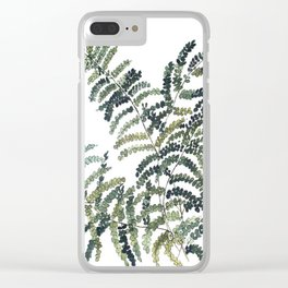 Woodland Fern Botanical Watercolor Illustration Painting Clear iPhone Case