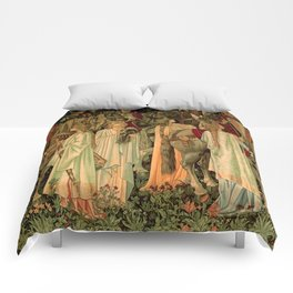 """Edward Burne-Jones """"Holy Grail Tapestry -The Arming and Departure of the Kniights"""" Comforters"""
