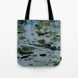 Florida Gator Amongst The Waterlilies Tote Bag