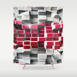 High and Low cubes Shower Curtain