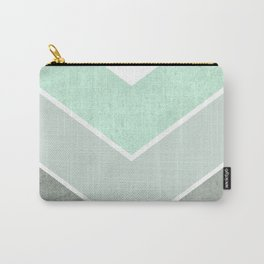 MINT TEAL GRAY CONCRETE CHEVRON Carry-All Pouch