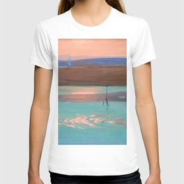 Blue Estuary maritime coastal beach sunset landscape painting by Julius Olsson T-shirt