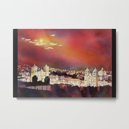 Fine art poured watercolor painting of colonial churches on the Plaza de Armas in Cusco Metal Print