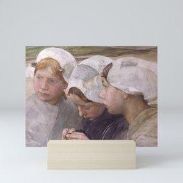 Pieter de Josselin de Jong - Three Girls from Scheveningen - Dutch Victorian Retro Vintage Oil Paint Mini Art Print