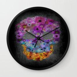 Sugar Skull Made Of Flowers Wall Clock