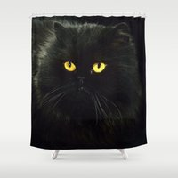 black cat Shower Curtains featuring Black Cat by Erika Kaisersot