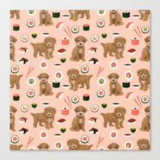 Bichpoo sushi dog breed cute pet portrait pet friendly pattern dog lover gifts Canvas Print