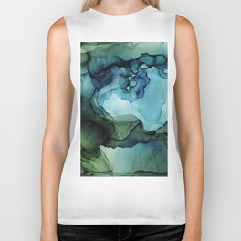 Land and Water Abstract Ink Painting Blues and Greens Biker Tank