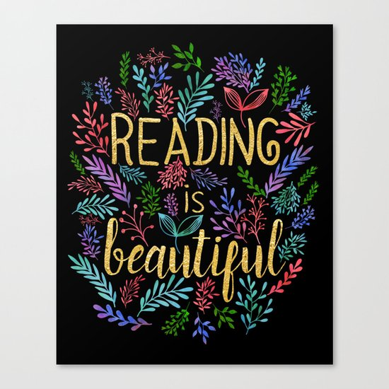 Reading is Beautiful - Gold Foil Canvas Print