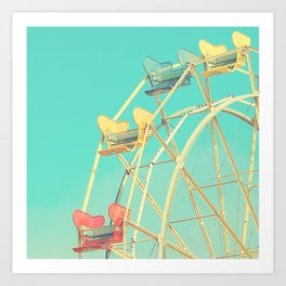 Vintage fairground photograph, teal, red, yellow, Ferris Wheel Art Print