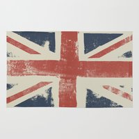 union jack Area & Throw Rugs featuring Union Jack by David Hand