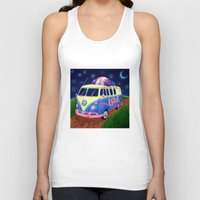 hippie Tank Tops featuring Hippie Van by whiterabbitart