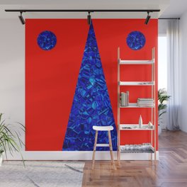 Red with blue polycon Wall Mural