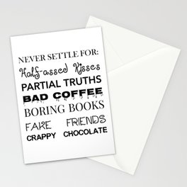 Never Settle for: Stationery Cards