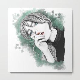 Woman portrait. Splash Fahion illustration Metal Print