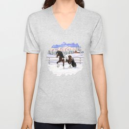 Brown and White Bay Pinto Skewbald Gypsy Vanner Draft Horse In Snow Unisex V-Neck