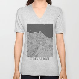 Edinburgh Pencil City Map Unisex V-Neck