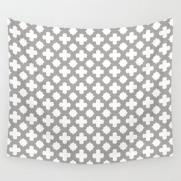 Stars & Crosses Pattern: Grey Wall Tapestry