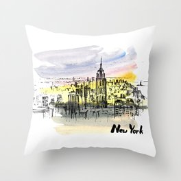 New York. Watercolor and ink. Throw Pillow