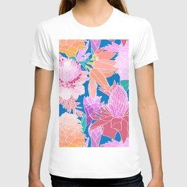 Pastel Ginger Garden in Tiki Blue T-shirt