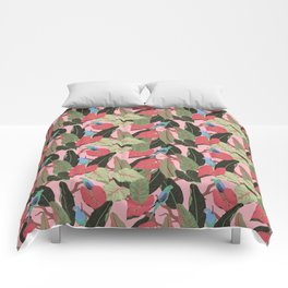 Sunny Hawaii Tropical Exotic Birds of Paradise Comforters