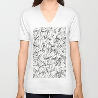 planes V-neck T-shirts featuring Paper planes by GrandeDuc