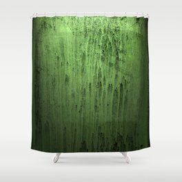 Old green window at night Shower Curtain