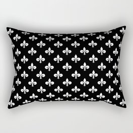 White French Fleur de Lis on Black Rectangular Pillow