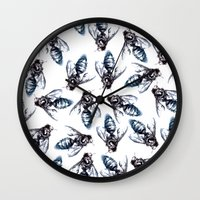 bees Wall Clocks featuring Bees. by Phie Hackett
