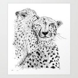 Cheetah hug Art Print