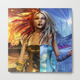 Fire and Ice Fantasy Art Metal Print