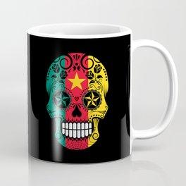 Sugar Skull with Roses and Flag of Cameroon Coffee Mug