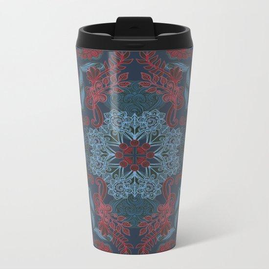 Vintage Fancy - a Pattern in Deep Teal & Red Metal Travel Mug