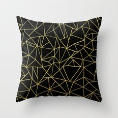 Abstraction Outline Gold on Black Throw Pillow